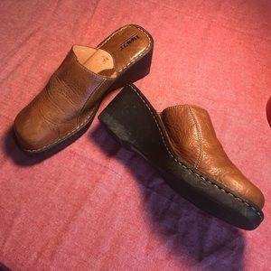 Brown Pebble Leather Open Heel Wedge Clog Size 10